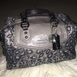 Silver and black leopard coach bag